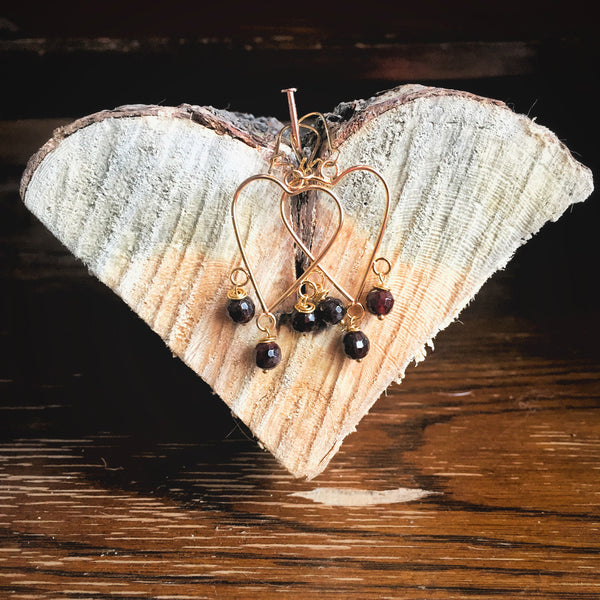 Heart Chandelier Earrings with Garnet