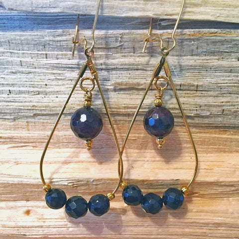 Teardrop Earrings with Garnet and Onyx