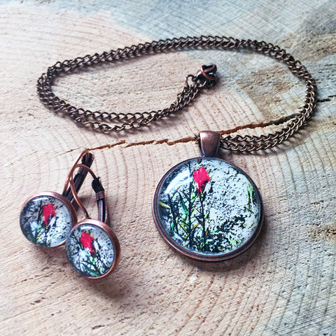 Montana Wildflower Photo Jewelry - Prairie Fire (Indian Paintbrush)