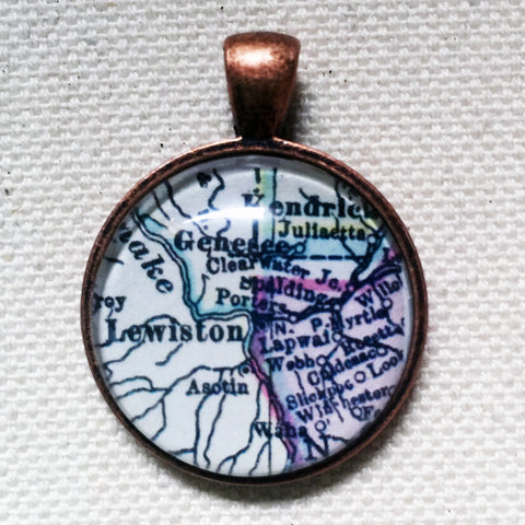 Lewiston Idaho Vintage Map Pendant