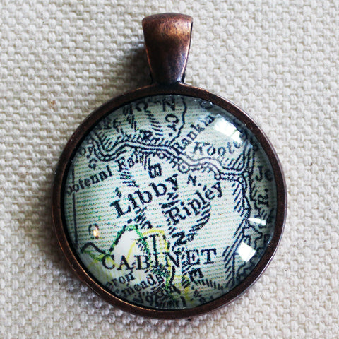 Libby Montana Vintage Map Pendant