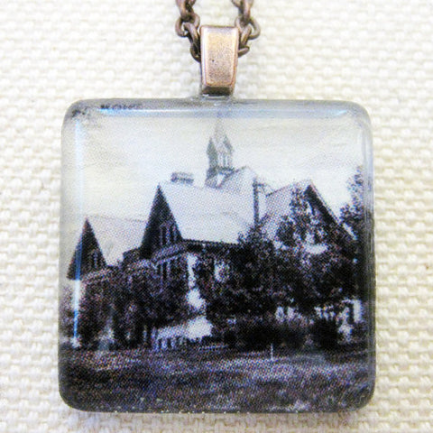 Montana Hall, Montana State University Vintage Postcard Necklace
