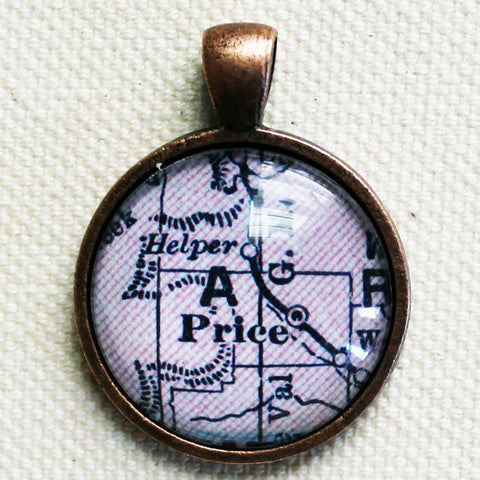Price Utah Vintage Map Pendant