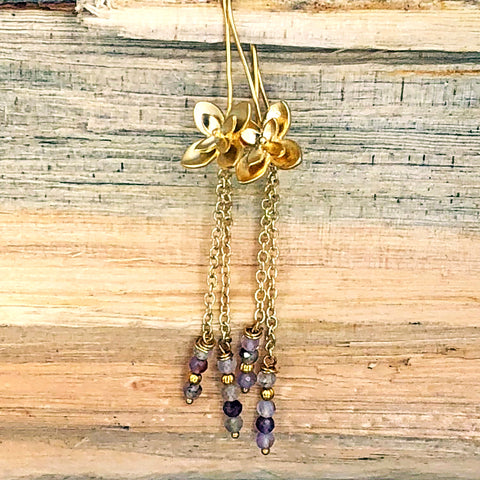 Flower Dangle Earrings with Rutilated Quartz