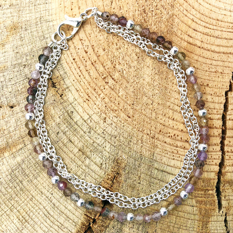 Triple-Strand Bracelet with Rutilated Quartz