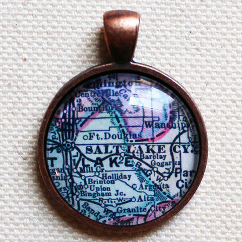 Salt Lake City Utah Vintage Map Pendant