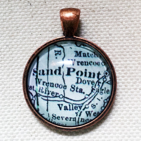 Sand Point Idaho Vintage Map Pendant