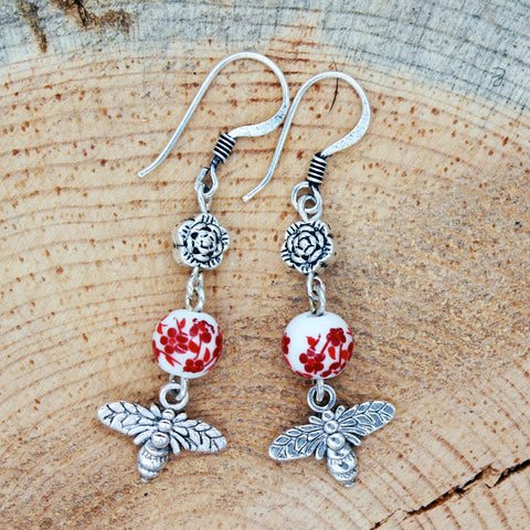 Bee Earrings with Red Floral Ceramic Beads