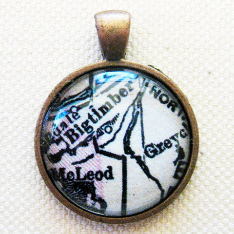 Big Timber Montana Antique Vintage Map Pendant