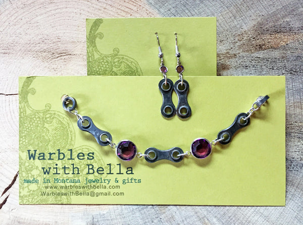 Upcycled Bicycle Chain Earrings with Vintage Swarovski Crystals