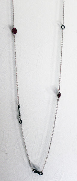 Long Upcycled Bicycle Chain Necklace with Vintage Round Swarovski Crystals