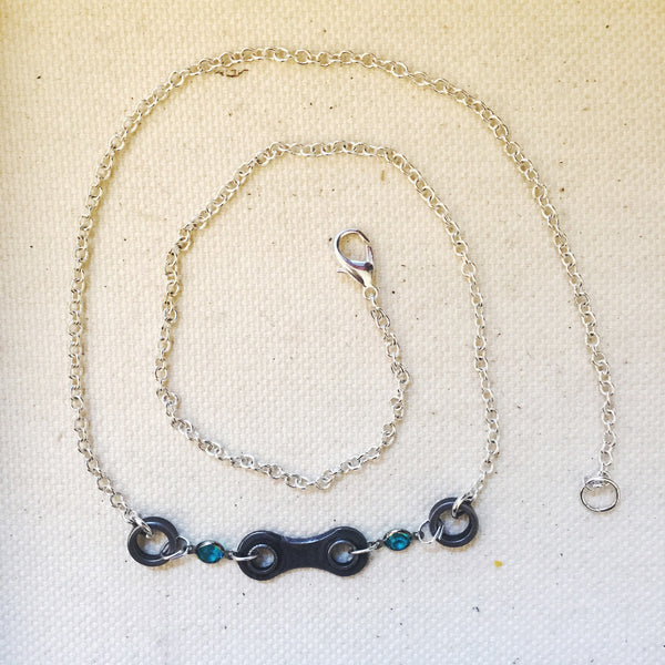 Short Upcycled Bicycle Chain Necklace with Vintage Swarovski Crystals
