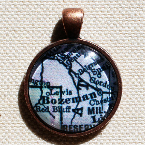 Bozeman Montana Antique Vintage Map Pendant