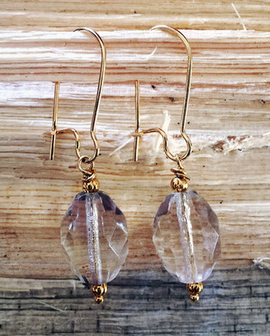 Crystal Earrings with Gold Accents