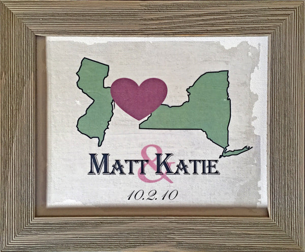 Custom Anniversary Canvas with Barnwood Frame - Two State
