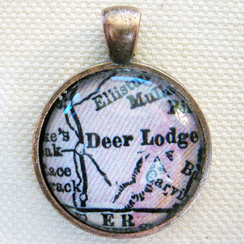 Deer Lodge Montana Vintage Map Pendant