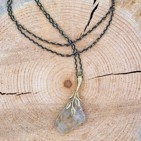 Quartz Pendant in a Leaf Setting