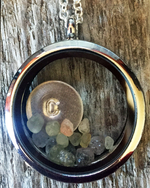 Montana Sapphire Floating Locket with Monogrammed or Montana-Stamped Disc