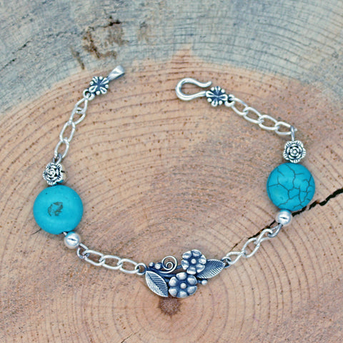 Floral Bracelet with Magnesite Turquoise in Copper or Silver