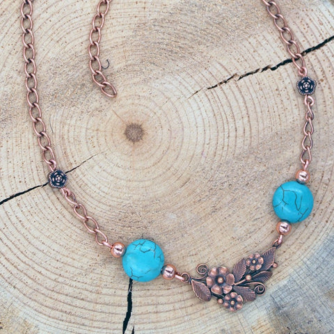 Floral Necklace with Magnesite Turquoise in Copper or Silver