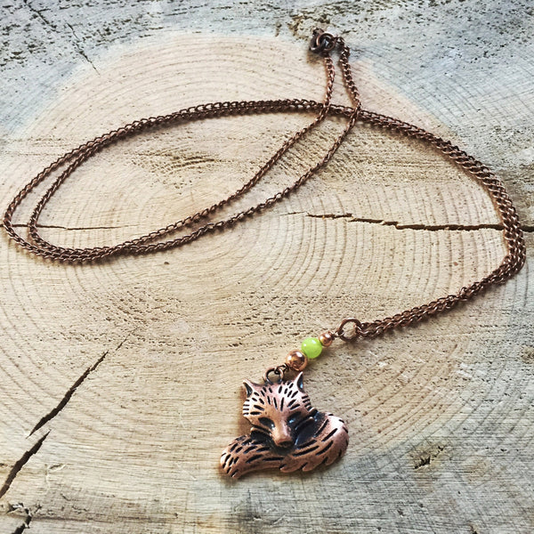 Fox Necklace with Seafoam Green Jade in Copper or Silver