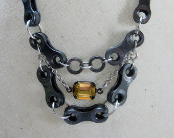 Upcycled Bicycle Chain Statement Necklace