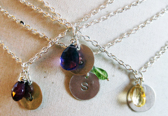 Custom Initial Necklace with Birthstone Briolette