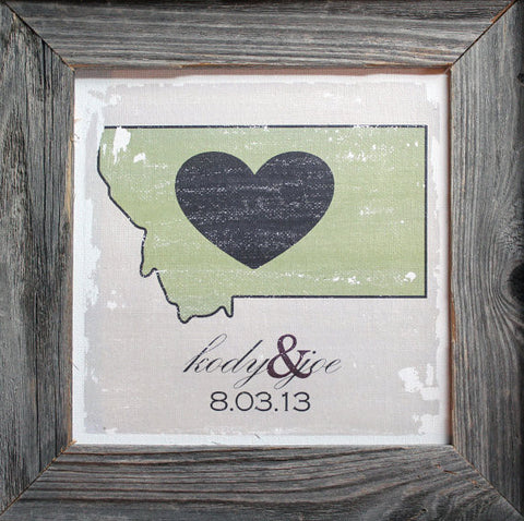 Custom Anniversary Canvas with Barnwood Frame - One State