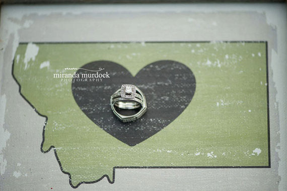 Custom Montana LOVE Anniversary Canvas with Barnwood Frame