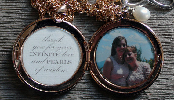 Infinite Love and Pearls of Wisdom Custom Photo Locket