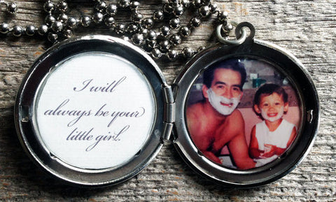 Men's Custom Photo Locket - I Will Always Be Your Little Girl