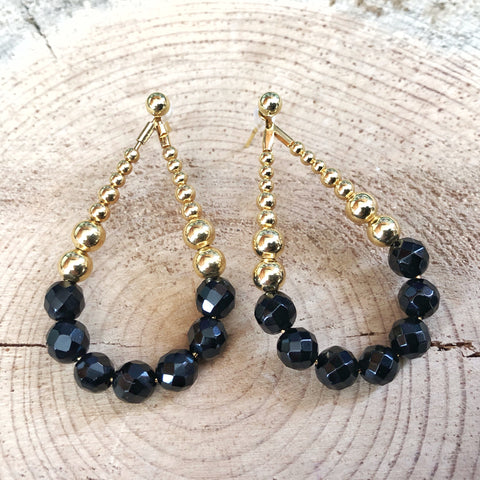 Teardrop Hoop Earrings with Onyx