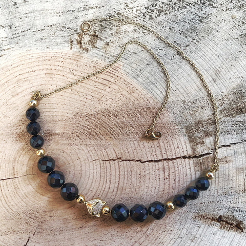 Curved Bar Necklace with Onyx and Pave Beads