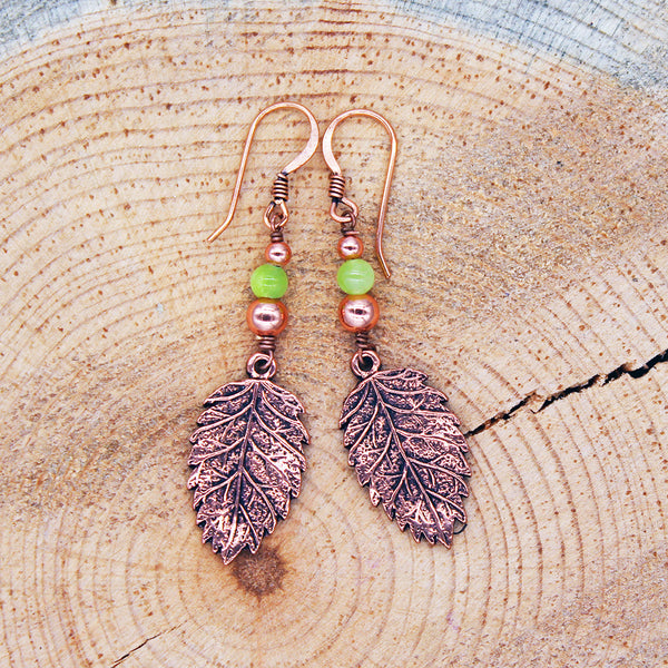 Leaf Earrings with Seafoam Green Jade in Copper or Silver