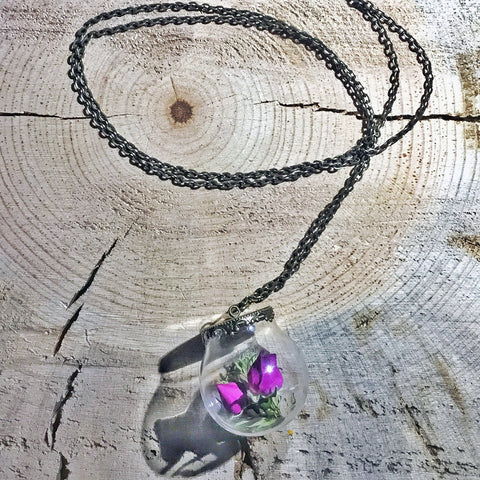 Montana Wildflower and Pine Terrarium Necklace