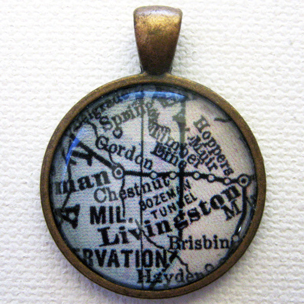 Livingston Montana Vintage Map Pendant