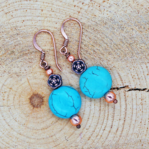 Magnesite Turquoise Earrings with Floral Accents in Copper or Silver