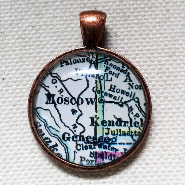 Moscow Idaho Vintage Map Pendant