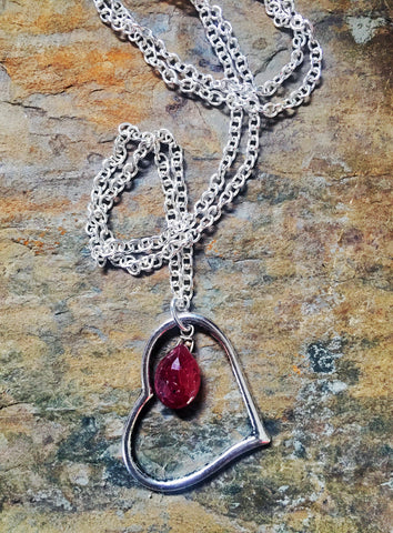 Custom Open Heart Necklace with Gemstone Briolette