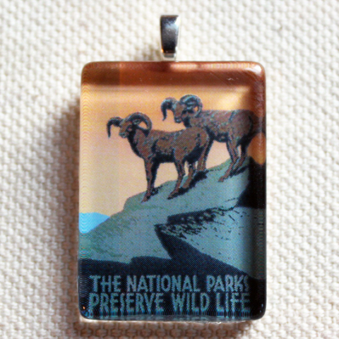Preserve Wildlife Montana WPA Poster Pendant for Necklaces - great Montana jewelry, Montana gift, nature lovers gift