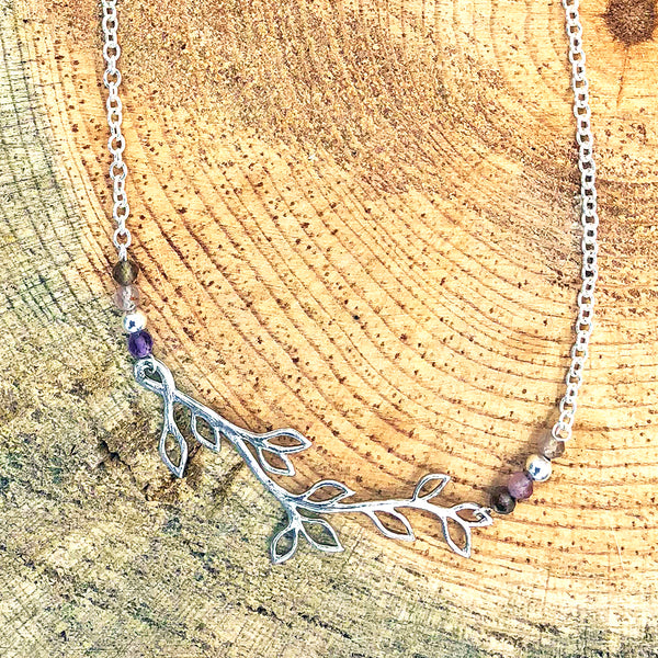 Branch Necklace with Rutilated Quartz