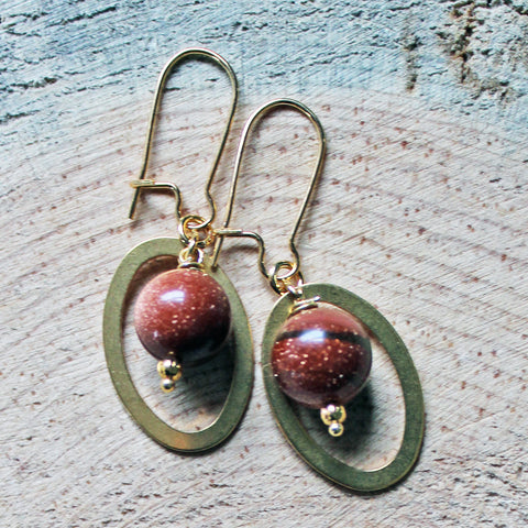 Oval Gemstone Earrings with Gold Sandstone or Caribbean Sea Green Jade