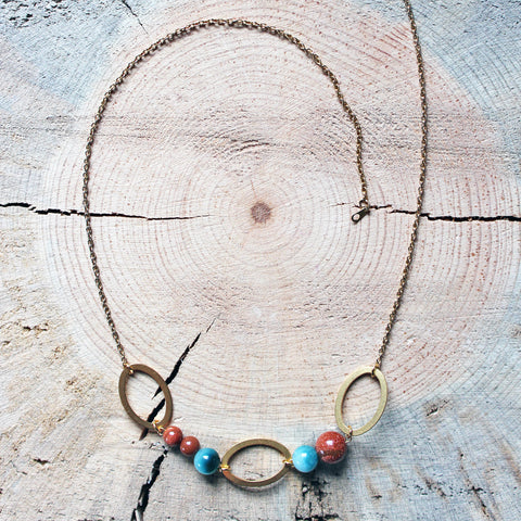 Gold Sandstone and Caribbean Sea Green Jade Geometric Necklace