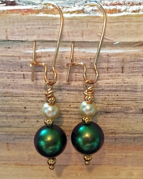 Green and Cream Swarovski Pearl Earrings with Gold Accents