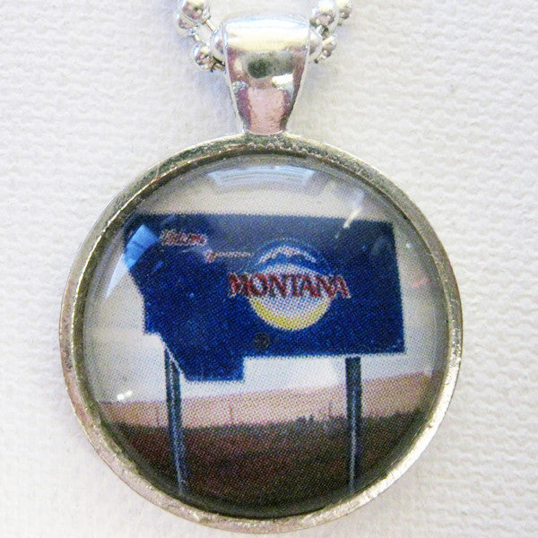 Welcome to Montana Highway Sign Pendant
