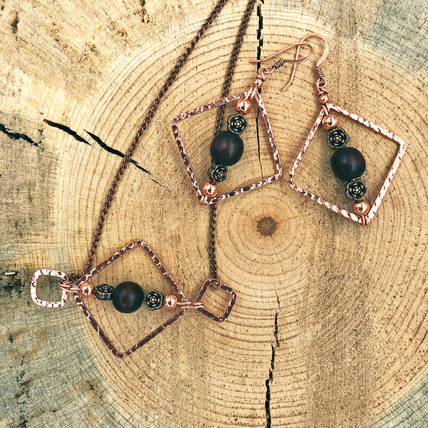 Geometric Necklace with Wood Bead and Metallic Floral Accents