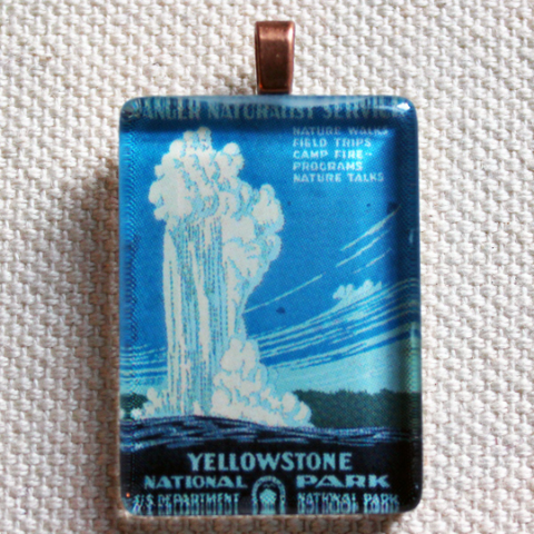 Yellowstone National Park WPA Poster Pendant for Necklaces - great Montana gift, nature lovers gift, national park jewelry