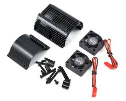 Yeah Racing 1/8 Twin Fan Aluminum Heat Sink w/2 Fans (Black) (40.8mm Diameter) YEAYA0261BK