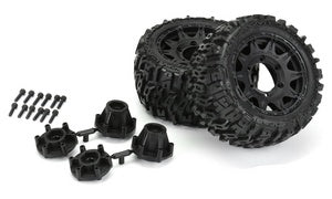 "Pro-Line Trencher LP 2.8"" All Terrain Tires Mounted on Raid Black Removable Hex Wheels (2) Stampede/Rustler PRO10159-10"