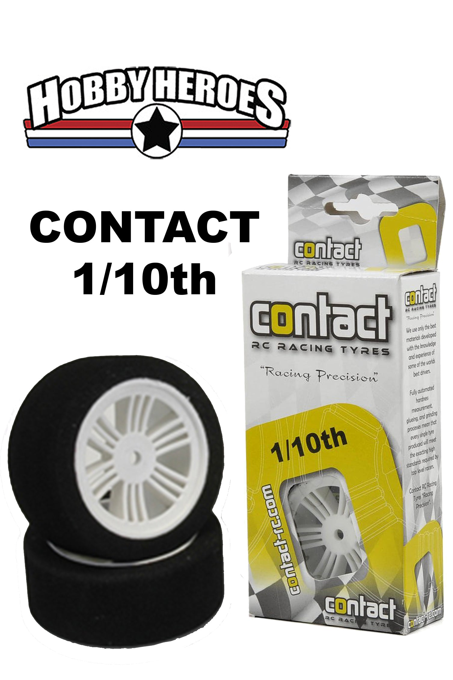 Contact 1/10 Rear 30mm 42 Shore Nylon Rim On Road Foam Tires CONJ14204